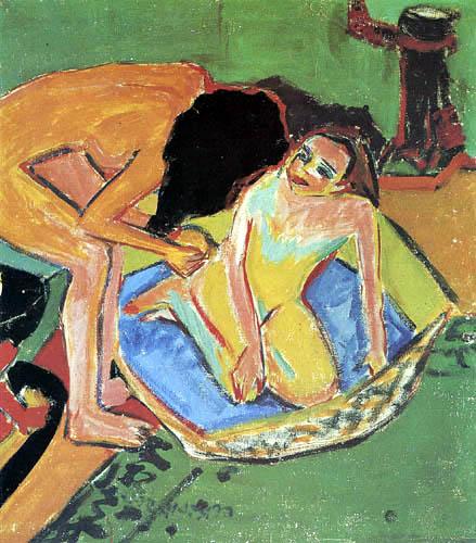 Ernst Ludwig Kirchner - Zwei Akte mit Ofen und Badetub