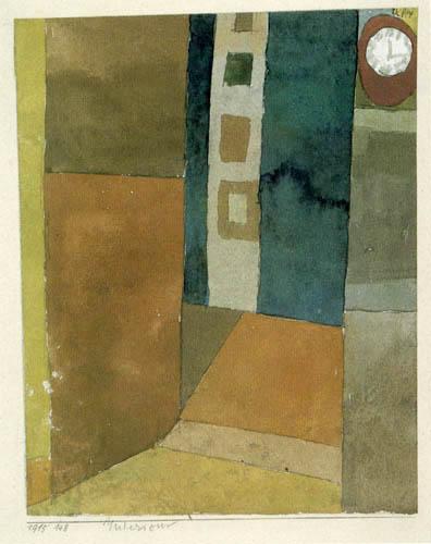 Paul Klee - Interieur, Innenraum mit Uhr