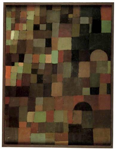 Paul Klee - Städtebild rot grün gestuft, mit der roten Kuppel