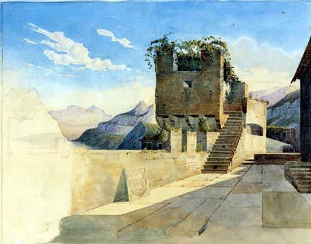 Leo von Klenze - Terrace of the tavern 'Al Angelo' in Bellinzona