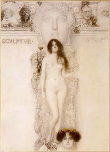 Gustav Klimt - Reinzeichnung der Allegorie 'Skulptur'