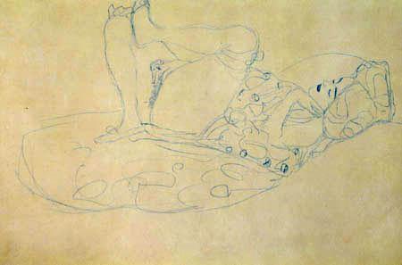 Gustav Klimt - A Reclining Nude