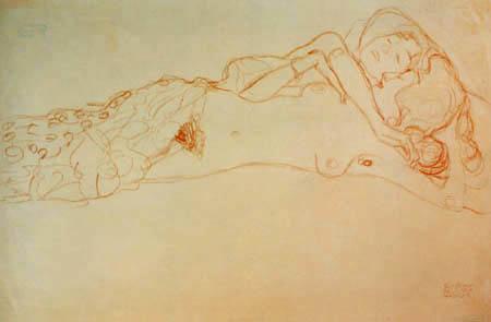 Gustav Klimt - Zwei auf dem Rücken liegende Akte