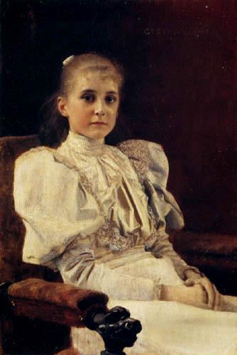 Gustav Klimt - Sitzendes junges Mädchen
