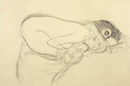 Gustav Klimt - Vornübergebeugter Halbakt