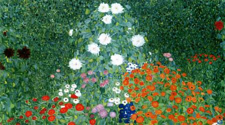 Gustav Klimt - Flower garden, detail