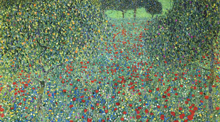 Gustav Klimt - Field of Poppies, detail