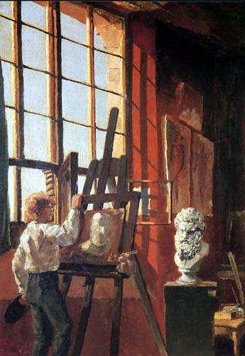 Max Klinger - Selfportrait in the studio