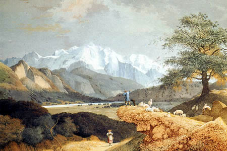 Josephus Augustus Knip - A Shepherd with his Flock in a Mountainous Landscape