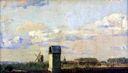 Christen Købke - Village with mill