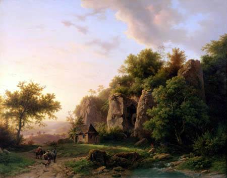 Barend Cornelis Koekkoek - Rocky landscape with chapel