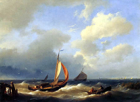 Jan Hermanus K. Koekkoek - Shipping on a choppy Sea