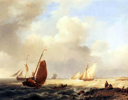 Jan Hermanus K. Koekkoek - Sailingvessels on a choppy Sea