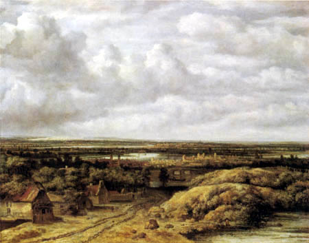 Philips Koninck (Goningh, Koning) - Landscape with huts at the edge of way
