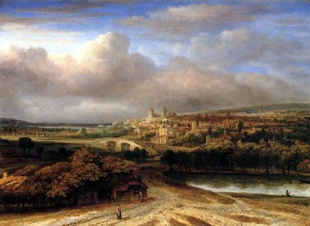 Philips Koninck (Goningh, Koning) - Landschaft mit Stadt am Berghang