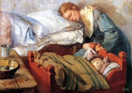 Christian Krohg - Mutter und Kind schlafen