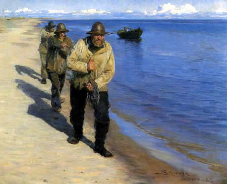 Peder Severin Krøyer - Fishermen pulling a boat on Skagen beach