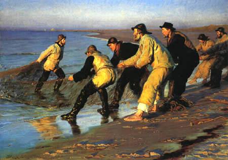 Peder Severin Krøyer - Fishermen Hauling the Net on Skagen´s North Beach