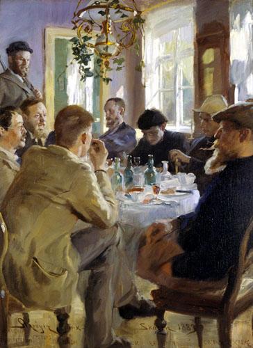 Peder Severin Krøyer - Artists' luncheon at Brøndum's Hotel