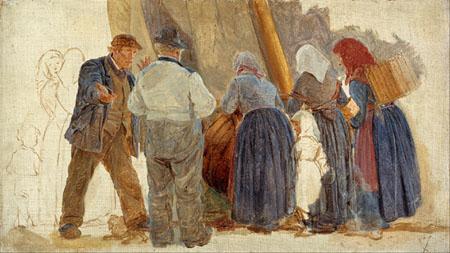 Peder Severin Krøyer - Morning at Hornbæk, Men and women bargaining