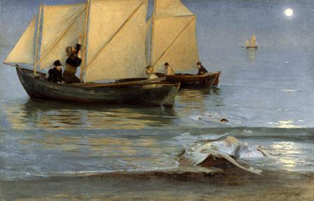 Peder Severin Krøyer - Night fishing in late summer