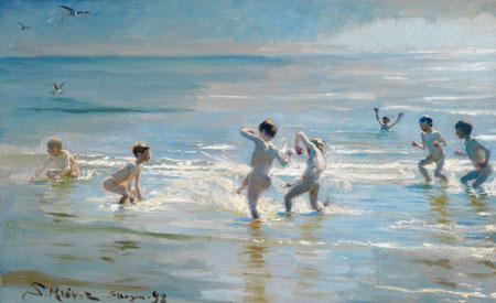 Peder Severin Krøyer - Jungen baden an einem Sommerabend auf Skagen Strand