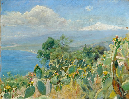 Peder Severin Krøyer - Blooming cactus in Taormina, Mount Etna in the background