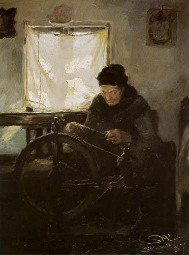Peder Severin Krøyer - The old Lena at the spinning wheel