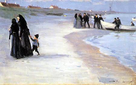 Peder Severin Krøyer - A white boat at the beach