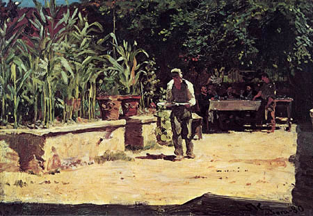 Peder Severin Krøyer - The garden of Albergo del Liri in Sora, Italy