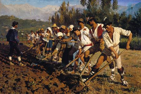 Peder Severin Krøyer - Travailleurs des champs italiens, Abruzzes