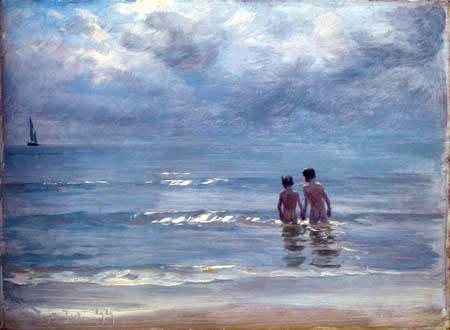 Peder Severin Krøyer - Bathing boys in the sea near Skagen