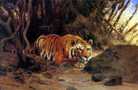 Wilhelm Kuhnert - Lurking tiger before the jump