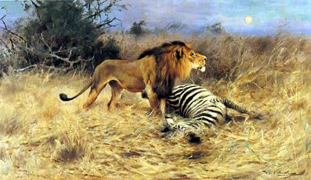 Wilhelm Kuhnert - Lion with hunted Zebra