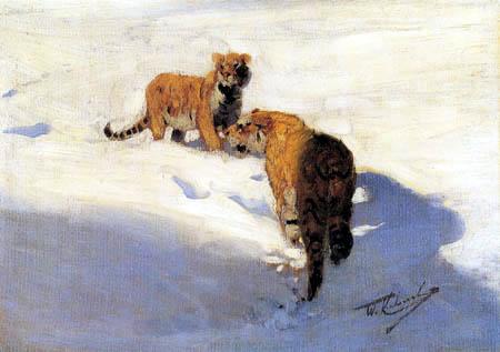 Wilhelm Kuhnert - Siberian tigers in the snow