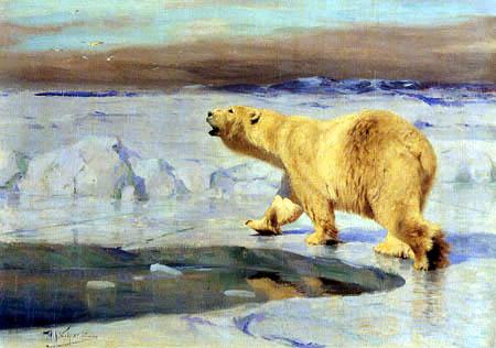 Wilhelm Kuhnert - Polar bear at the water hole