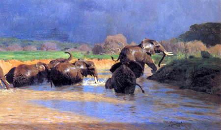 Wilhelm Kuhnert - Elephant after a rain