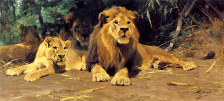Wilhelm Kuhnert - Lion in the hiding place
