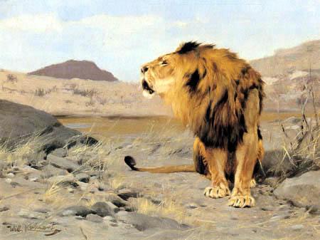 Wilhelm Kuhnert - Sitting lion