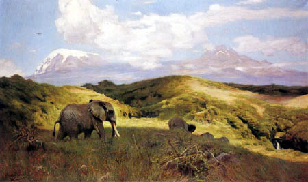 Wilhelm Kuhnert - Elephant before the Mount Kilimanjaro