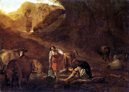 Pieter Jacobsz. van Laer (Il Bamboccio) - Herder and wash women at the brook
