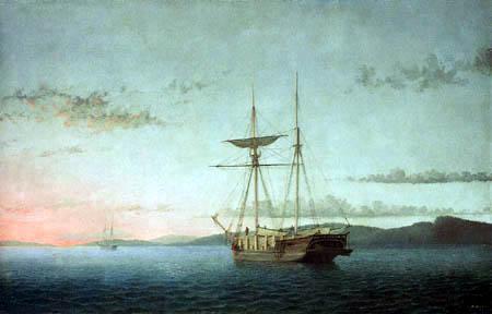 Fitz Hugh Lane - Lumber Schooners at Evening on Penobscot Bay