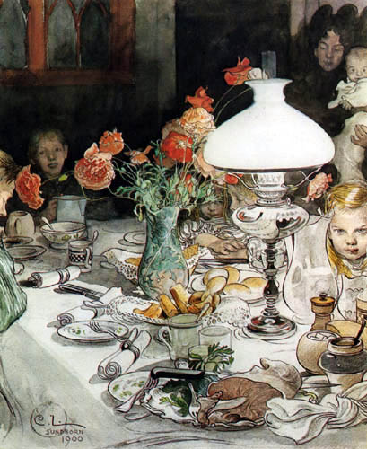 Carl Olof Larsson - Um die Abendlampe