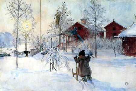 Carl Olof Larsson - Brita avec traîneau