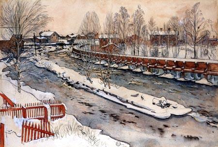 Carl Olof Larsson - Le Canal pour le flottage
