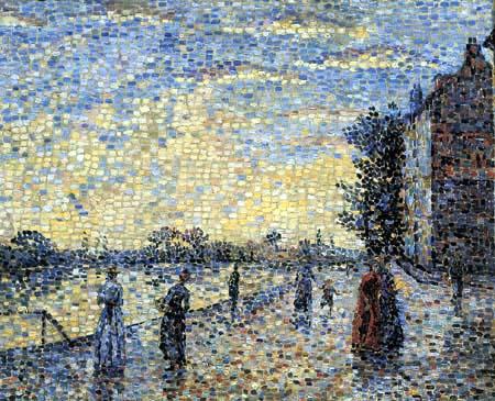 Achille Laugé - The promenade along the river