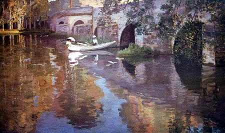 Sir John Lavery - The Bridge at Grez