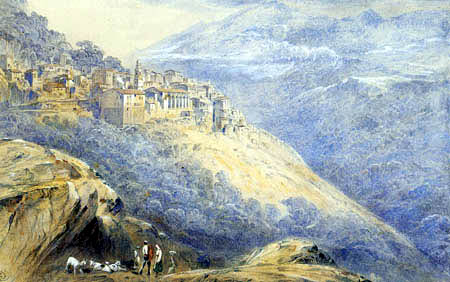 Edward Lear - Blick auf Olmeto, Korsika