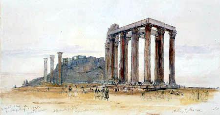 Edward Lear - Der Tempel Jupiter Olymp, Athen Akropolis