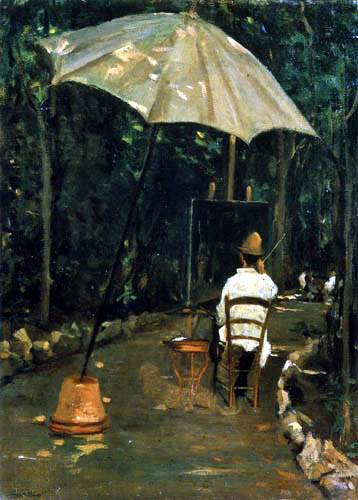 Silvestro Lega - Angiolo Tommasi painting in a garden